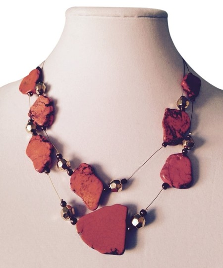 Other Orange Howlite & Crystal Double Strand Necklace