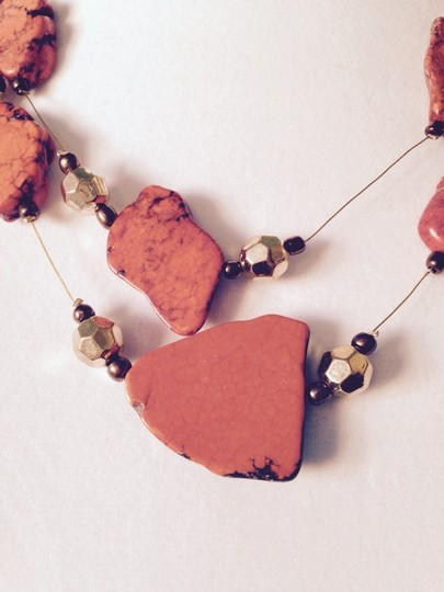 Other Orange Howlite & Crystal Double Strand Necklace Image 1