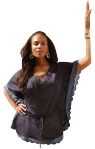 Jones New York Ocotton Batwing Sleeves Scalloped Trim Top ADMMIRAL NAVY
