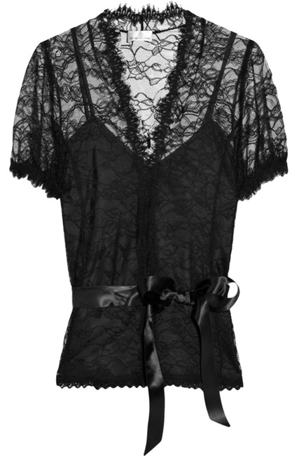 Preload https://item4.tradesy.com/images/miguelina-black-blouse-size-10-m-3321883-0-0.jpg?width=400&height=650