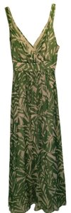 Green and White Maxi Dress by Signature by Robbie Bee Silk Maxi Tropical