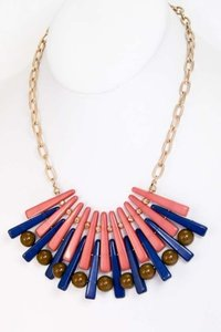 Unknown Costume Jewelry Graphic Fan Shaped Multi Color Necklace