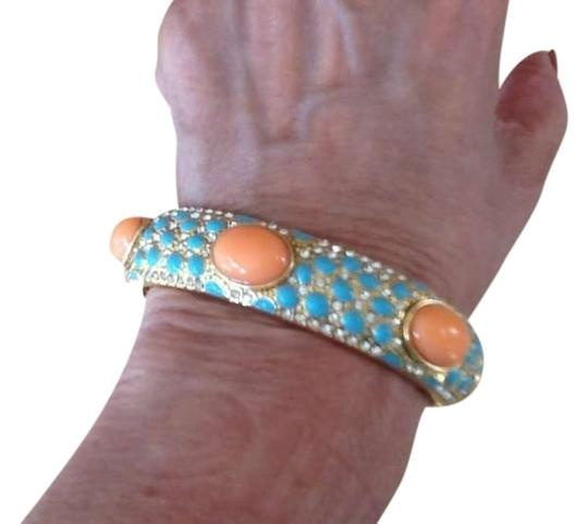 Preload https://item4.tradesy.com/images/peach-and-tourqouise-blue-on-gold-bangle-fashion-bracelet-332233-0-0.jpg?width=440&height=440