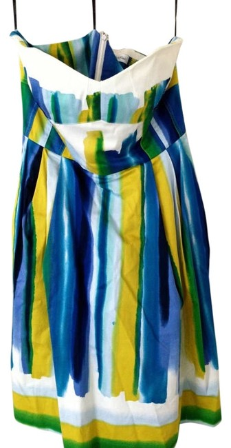 Calvin Klein short dress Multi A-line Knee Length Colored Blue Green Yellow Watercolored Striped Tea Length on Tradesy