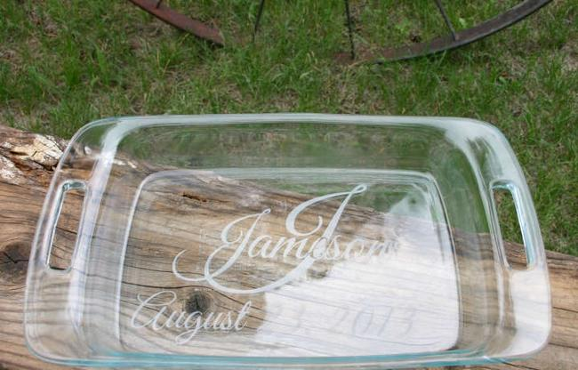 Item - Hand Sand Etched 9x13 Baking Dish Monogramed Cookware