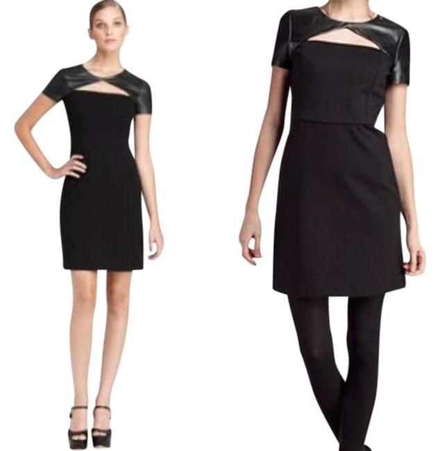 Preload https://item1.tradesy.com/images/dkny-blackcharcoal-sleeves-leather-cut-out-above-knee-short-casual-dress-size-8-m-332360-0-0.jpg?width=400&height=650