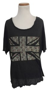 John Galt Floral Union Jack T Shirt Grey