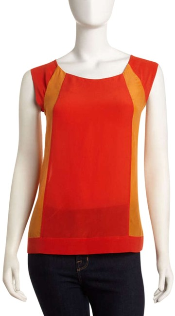 Preload https://img-static.tradesy.com/item/332417/french-connection-oranges-sarah-silk-colorblock-in-sierra-blouse-size-4-s-0-0-650-650.jpg