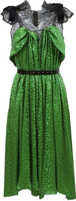 Item - Green/Black Chantilly Mid-length Night Out Dress Size 6 (S)