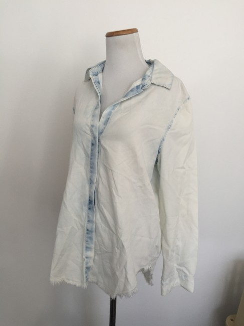 Forever 21 Acid Wash Button Down Shirt Chambray