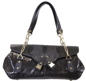 Fratelli Rossetti Lizard Leather Rare Shoulder Maxi Leather Satchel in Black