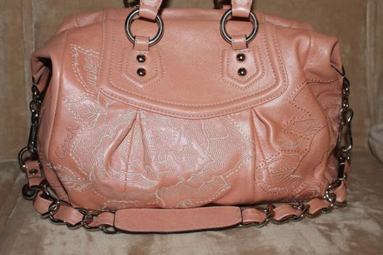 Coach Rose Embroidered Pink Limited Ed Satchel