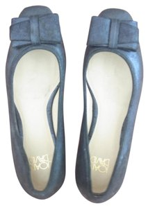 Joan & David & Leather Bow Size 7 & Leather Glazed Leather Black Flats