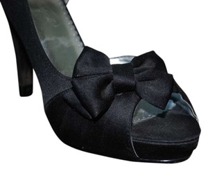David's Bridal Peep Toe Classic Black Platforms