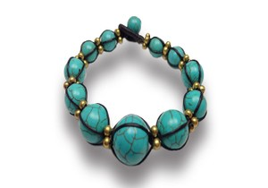 Other Graduated Genuine Turquoise Macrame Bracelet