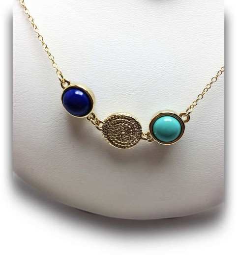 Other Precious Genuine Gemstones Station Necklace