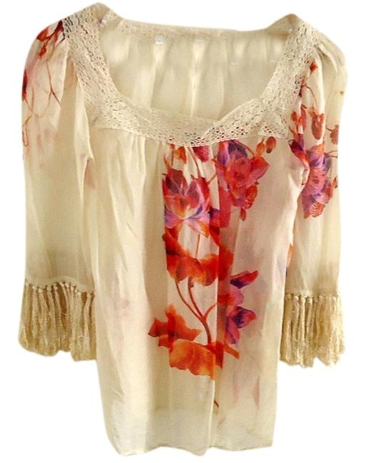 Holly Morgan Hand-painted Silk Crochet Trim Top floral