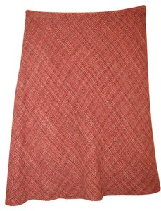 Ann Taylor LOFT 100% Silk Tweed Skirt Red