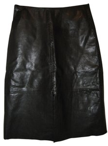 Banana Republic Genuine Leather Pencil Skirt Black