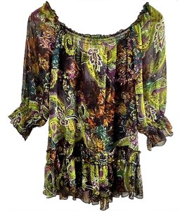 Xhilaration Paisley Ruffle Elastic Top green-multi
