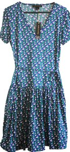Duro Olowu short dress Green, Blue & White Jcpenny Designer Collaboration Global Fun Pattern Color Herringbone Soft Short-sleeve Mid-length Funky Fashionable on Tradesy