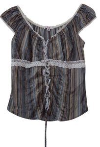 Macy's Corset Barmaid Costume Top Multi Blues