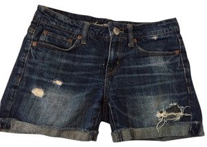 American Eagle Outfitters Cuffed Shorts Distressed Dark Wash