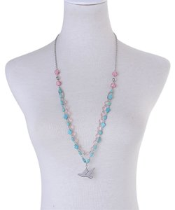 Other Blue Howlite, Pink Glass, Pink And White Austrian Crystal Necklace with Dove In Stainless Steel