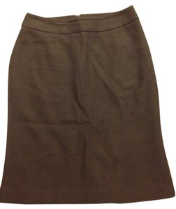 Ann Taylor Textured Pencil Wool Skirt Brown