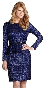 Antonio Melani Blue Indigo Lace Peplum Dress