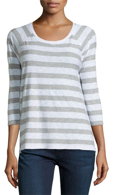 James Perse Striped Size 2 / Medium Cotton / Modal T Shirt Gray and White
