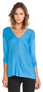 Vince Shirt Luxe V-neck Top Blue
