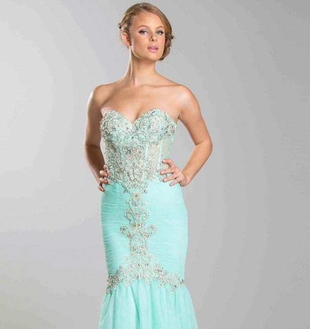 Beaded mesh mermaid Gown Bridesmaids Strapless Elegant Dress