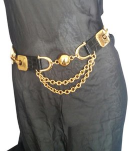 Streets Ahead Streets Ahead Black Croc Embossed Belt with Gold Hardware