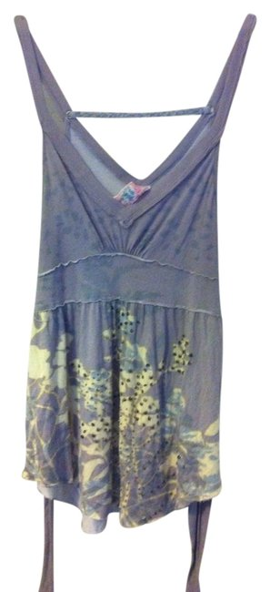 Free People Lilac/Grey/Yellow/White Halter Top