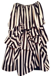 Steampunk Victorian Gothic Skirt black and white pinstripe