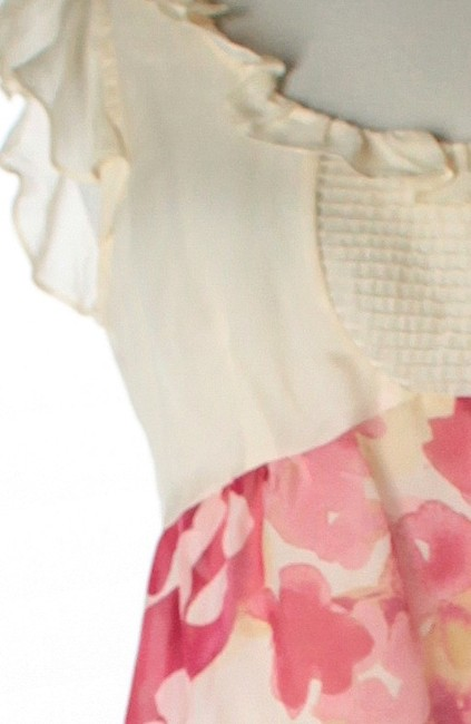 Odille Floral Silk Sheer Top Ivory / White & Multicolor