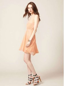 Stella & Jamie Peach Silk Peach Pala Pleated Dress Dress