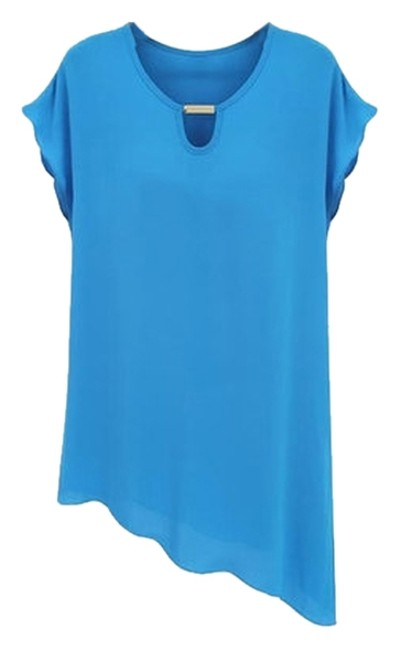 Preload https://item3.tradesy.com/images/blue-new-women-s-chiffon-shirt-solid-casual-summer-blouse-size-8-m-3329647-0-0.jpg?width=400&height=650
