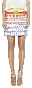 Nicole Miller Silk Mini Embroidered Embellished Beaded Skirt
