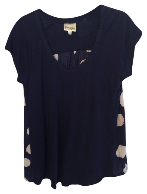 Preload https://item3.tradesy.com/images/anthropologie-bluewhite-dot-back-tee-shirt-size-10-m-3329827-0-0.jpg?width=400&height=650
