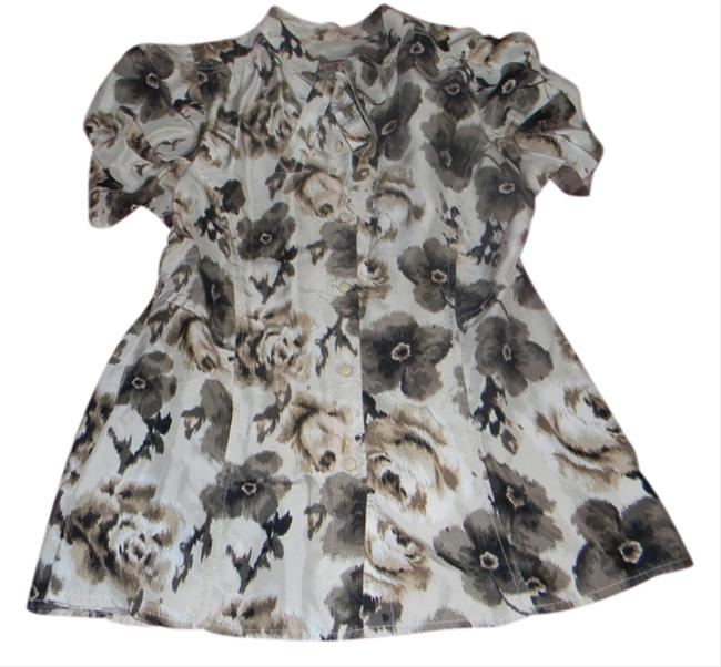 Juicy Couture Silk Floral Bow Button Down Top Tan Floral