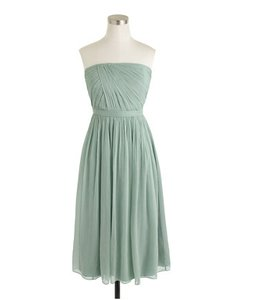 J.Crew Dusty Shale Silk Chiffon The Mindy Feminine Bridesmaid/Mob Dress Size 8 (M)