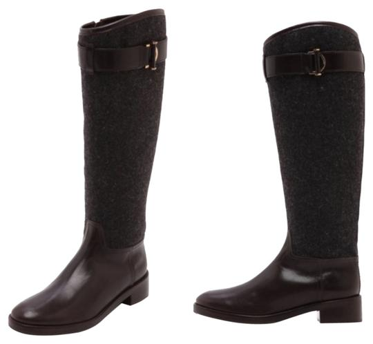 Tory Burch Grace Riding Leather Size 10 grey/coconut Boots