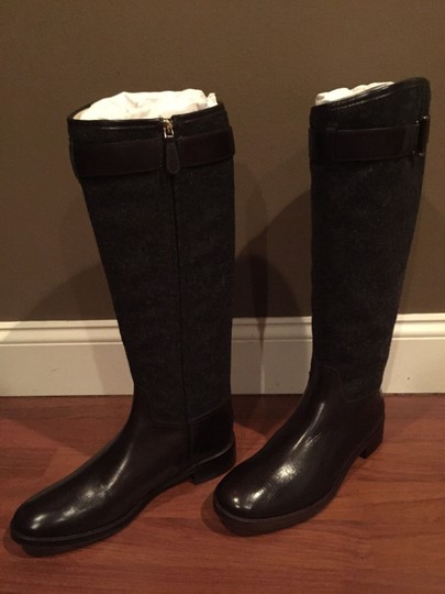 Tory Burch Riding Leather Size 10.5 grey/coconut Boots Image 4