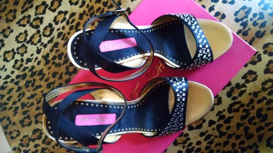 Betsey Johnson Crystal Studded Very Sexy Black satin Formal