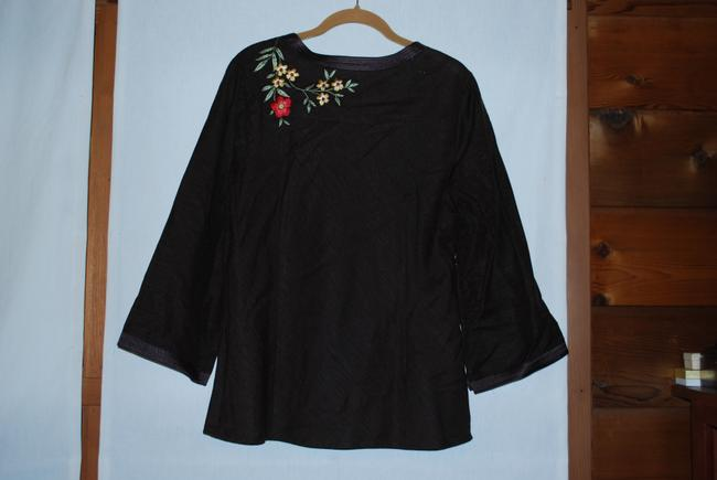Saint Tropez West Silk Top Brown w/ Floral Embroidery
