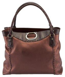 Salvatore Ferragamo Leather Tote in Bronze/Brown