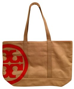 Tory Burch Canvas Tote in Natural/ Blood Orange