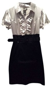 Agenda Fitted Belted Contrast Dress